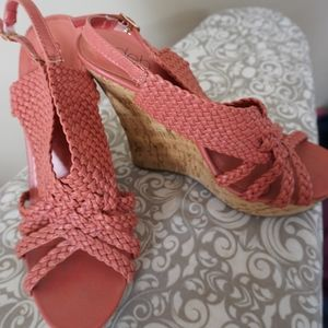 Coral pink wedge heel